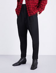 Haider Ackermann Tapered Dropped Crotch Fleece Wool Trousers Black