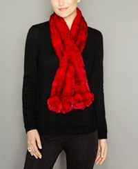 The Fur Vault Rosette Knitted Rex Rabbit Scarf Red