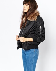 Vero Moda Ultility Bomber With Faux Fur Hood Black