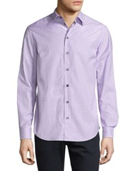Armani Collezioni Box Check Plaid Sport Shirt Lavender Purple