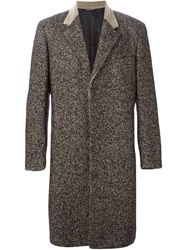 Jean Paul Gaultier Vintage Tweed Leather Detail Coat Black