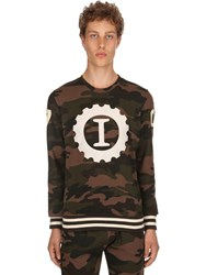 Hydrogen Garage Italia Logo Cotton Sweatshirt Army Camo