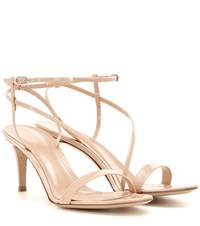 Gianvito Rossi Carlyle Mid Patent Leather Sandals Neutrals