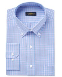 Club Room Estate Men's Classic Fit Wrinkle Resistant Blue Purple Check Dress Shirt Only At Macy's