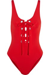 Mara Hoffman Lace Up Swimsuit Red