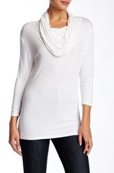 Valette 3 4 Length Sleeve Cowl Neck Tee White