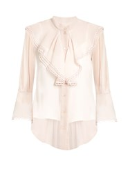 Chloe Semi Sheer Ruffle Trimmed Blouse Light Pink