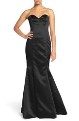 Hayley Paige Occasions Women's Strapless Satin Trumpet Gown Black