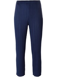 Issey Miyake Pleats Please By Pleated Cropped Trousers Blue