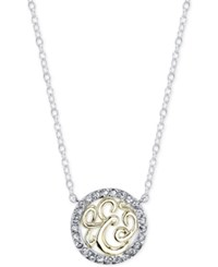 Unwritten Initial 'E' Pendant Necklace With Crystal Pave Circle In Sterling Silver And Gold Flash Two Tone