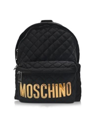 Moschino Black Quilted Fabric Backpack W Laminated Logo