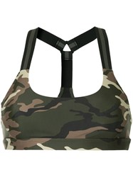 The Upside Camouflage Print Bra Top Green