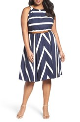 Eliza J Plus Size Women's Stripe Fit And Flare Dress