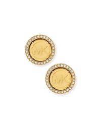 Logo Pave Stud Earrings Golden Michael Kors