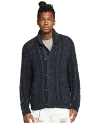 Denim And Supply Ralph Lauren Marled Cotton Shawl Cardigan Denim Marl