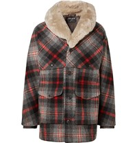 Filson Limited Edition Packer Shearling Trimmed Checked Wool Coat Gray