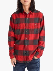 J.Crew Long Sleeve Check Flannel Shirt Red