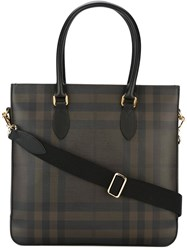 Burberry Checked Tote Brown