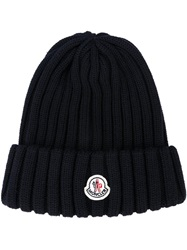 Moncler Ribbed Knit Beanie Blue