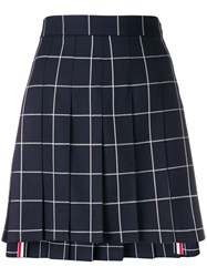 Thom Browne Windowpane Pleated Mini Skirt Blue