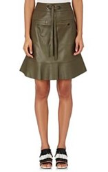 Proenza Schouler Women's Drawstring Waist Leather Skirt Green