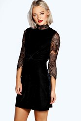Boohoo High Neck Lace And Velvet Bodycon Dress Black