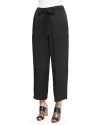 Edun Pebble Crepe Cropped Judo Pants Black