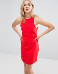 Neon Rose Button Front Dress Red