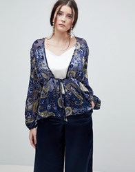 Lioness Summer Velvet Printed Sheer Wrap Front Top Multi