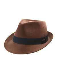 Crown Cap Felt Fedora With Grosgrain Trim Brown