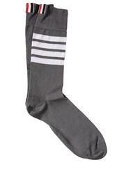 Thom Browne Mid Calf Lightweight Cotton Socks Med Grey