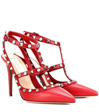 Valentino Rockstud Rolling Leather Pumps Red