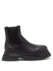 Burberry Chunky Platform Leather Chelsea Boots Black