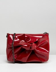 New Look Patent Bow Chain Shoulder Bag Red