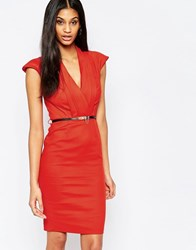 Paper Dolls Belted Pencil Dress Tomato
