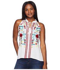 Scully Summer Fun Embroidered Cotton Tank White Clothing