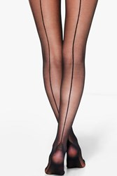 Boohoo Seam Back Sheer 20 Denier Tights Black