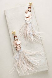 Anthropologie Heari Feather Drop Earrings White