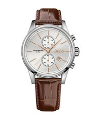 Hugo Boss Jet Stainless Steel Brown Leather Strap Chronograph