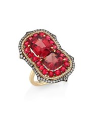 Ivy Duo Diamond And Red Spinel Ring