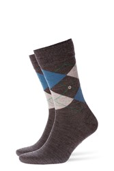 Burlington Printed Virgin Wool Ankle Socks Grey
