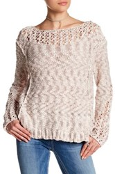 Silver Jeans Co. Long Sleeve Open Knit Sweater Pink