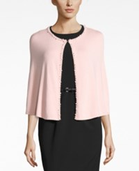 Calvin Klein Embellished Faux Pearl Capelet Evening Wrap Blush