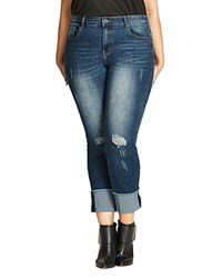 City Chic Cropped Cuffed Jeans Denim Mid