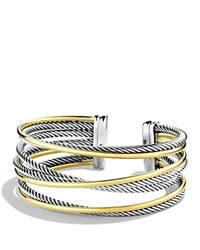 David Yurman Crossover Four Row Cuff With Gold Silver Yellow Gold