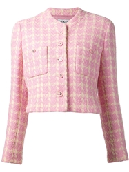 Chanel Vintage Houndstooth Boucle Knit Jacket Pink And Purple