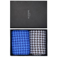 Kloters Milano Light Blue And Brown Houndstooth Socks Pack Blue Brown