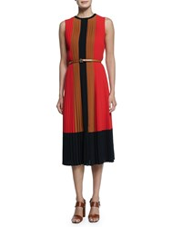 Michael Kors Techno Georgette Pleated Colorblock Dress Coral Caramel