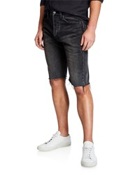 Balenciaga Vintage Denim Cutoff Shorts Black Gray