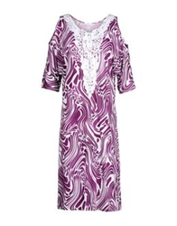 Parah Knee Length Dresses Purple